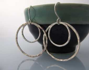 Big Double Circles Sterling Silver Earrings, hammered and textured, custom order available