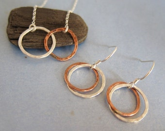 Love Circle Silver and Gold Two Tone Necklace and Earrings Set, hammered and textured, customized