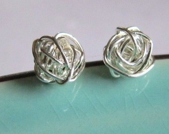 Valentines Day Sterling Silver Hand Wired Rose Studs, Custom order available
