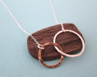 Small Silver Gold Two Tone Circles Pendant Eternity Necklace,  Gift for Best Friend Friendship Two Ring Charm, made in USA