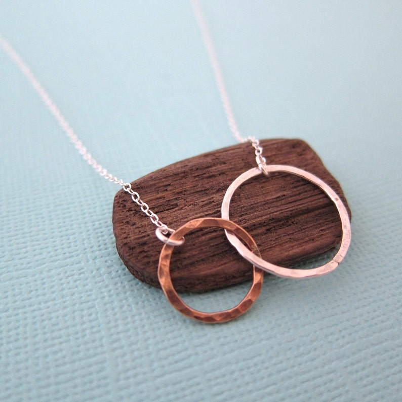 Small Silver Gold Two Tone Circles Pendant Eternity Necklace image 0