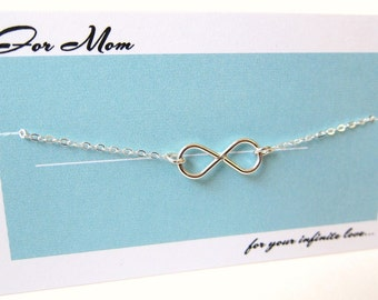 Gifts for Mother, Mother of Bride, Mother in law,  Silver Infinity Charm Pendant Sterling Necklace, Customized, made in USA