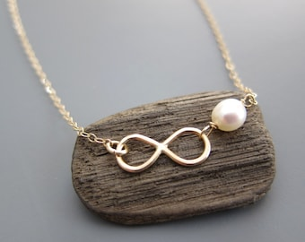 Gold Love Infinity Pearl Charm Pendant Necklace for Her, dedicated jewelry for important person, Customized birthstone made in US