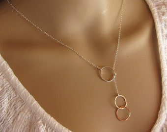 City Chic Two Tone Mixture Sterling Silver and Copper Gold Love Circle Lariat Necklace, Sexy, Customized, Designs By Yan made in USA