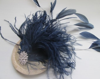 c315f5559f577 Fascinator  Bridal hair accessories  wedding hair accessories  New handmade  navy blue feather fascinator