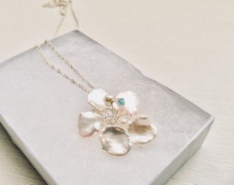 Bridal jewellery, wedding jewellery, Bridal necklace, bridesmaids, pearl flower, handmade ivory freshwater pearl silver necklace