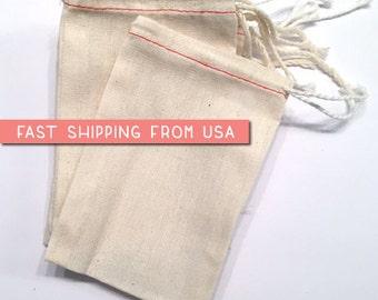 "100 bulk 5"" x 7"" Premium MUSLIN BAGS,  Drawstring Bags, natural cotton bags, potpourri sachet, stamping, wedding, packaging, DIY party favor"