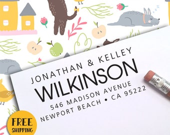 Custom Address Stamp, FREE SHIPPING with PROOF, Self Ink Return Address Stamp, Personalized Address Stamp, Self Ink Custom Address Stamp 393