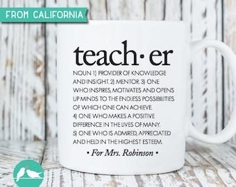 10% OFF Personalized Teacher's Mug with definition of Teacher, Teacher's Mug, Teacher's Coffee Mug, Teacher's Appreciation Gift, Mug 23