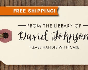 FREE SHIPPING Library Stamp with signature from USA, Rubber Stamp, Self Inking Stamp, for Teacher, Book Lover, Book Worm Stamp Library12