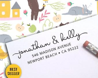 Custom Address Stamp, Self Inking Address Stamp, Custom Rubber Stamp, Address Stamp, Return Address Stamp, Housewarming, Wedding, RSVP 396