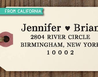 CUSTOM ADDRESS STAMP with proof from usa, Eco Friendly Self-Inking stamp, rsvp address stamp, library stamp, wedding designer stamp heart363