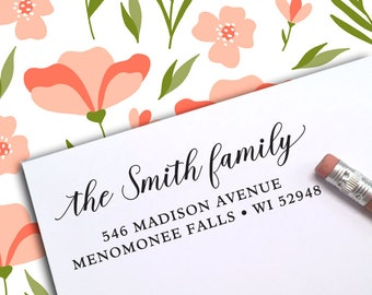 Custom Address Stamp, Self Inking Address Stamp, Custom Rubber Stamp, Address Stamp, Return Address Stamp, Housewarming, Wedding, RSVP 388