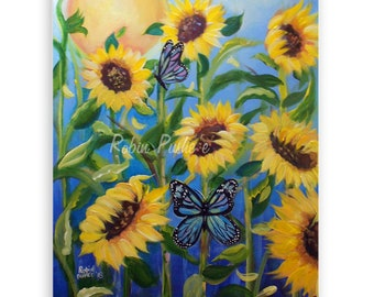Sunflowers and Butterflies, Original Painting on Canvas
