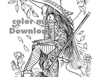 Witch and her cat, Coloring Page