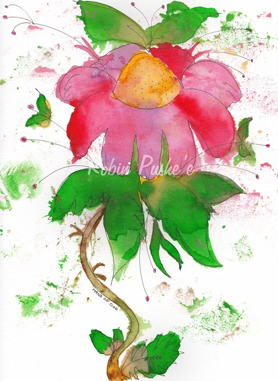 Single Floral Colorful Watercolor Series4