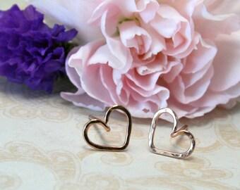 Tiny Heart Earrings - Dainty 14k Rose Gold Heart Earrings - Minimalist