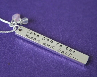 I Love You To The Moon and Back Necklace, Sterling, Moonstone Rose Quartz