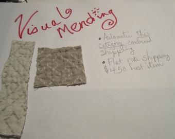 Visible Mending Quick Start Kit  Got a rip? Fix it! Scraps of Jacquard patterned linen