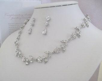 Bridal Jewelry -Bridesmaids Jewelry - Bride Necklace - Rhinestone Floral Bridal Jewely Set- Bridal Accessories- Wedding Jewelry