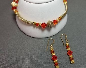 Swarovski Crystal Copper Bracelet and Earrings with Gold Filled Findings