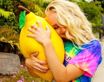 Giant Lemon Pillow - Large Fruit Cushion for Cool living Rooms