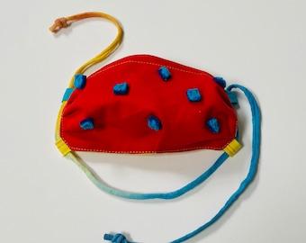 Fun Pompom Back to School Mask with Prize- Kids Mask - Crayon Line