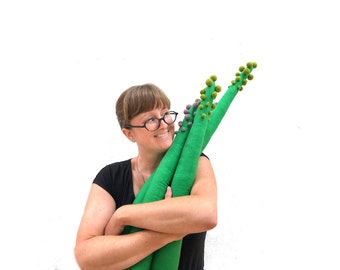 Stuffed Asparagus Vegetable Pillow - Flannel and Merino Wool Fabric Sculpture