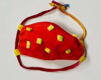 Pompom Back to School Mask with Prize- Kids Mask - Crayon Line