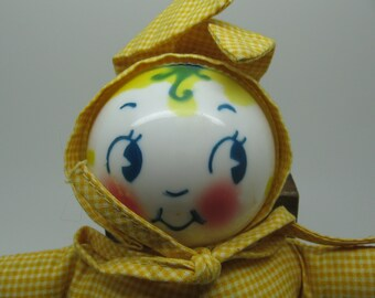 Vintage Cloth Baby Rattle Doll Dressed as Rabbit
