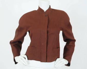 Kenzo Paris Early 1980s Vintage Linen Nehru Collar Designer Jacket