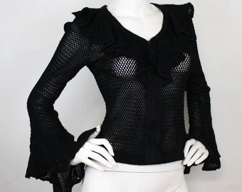 SALE - Mr. Boots 1960's Vintage Black Crochet Ruffle Witchy Rock Star Bell Sleeve Top