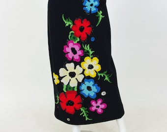SALE Early 1970's Vintage Incredible 3D Embroidered Sequin Floral Black Wool Maxi Skirt Sz M
