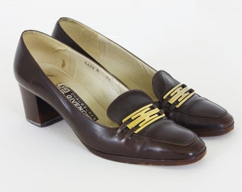 SALE Givenchy 1970's Authentic Vintage Brown Genuine Leather Gold Buckle Heels Sz 8 N