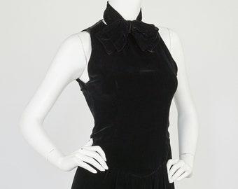 ef6e41bb2c81 Oscar de la Renta 1970s Vintage Black Velvet Bow Mini Cocktail Dress Sz XS