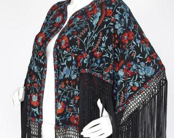 Talitha Floral Embroidered Black Silk Fringe Boho Designer Kimono Jacket Shawl Sz S