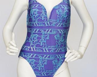 Pierre Cardin 1980s Vintage Periwinkle Blue Metallic Medieval Art Style Print One Piece Bathing Suit