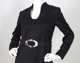 1960s Vintage Space Age Black Silver Buckle Mini Dress Sz S