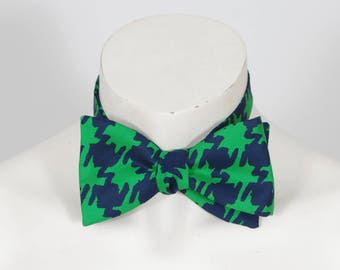 Men's Vintage Pure Silk Green & Navy Blue Large Houndstooth Bow Tie