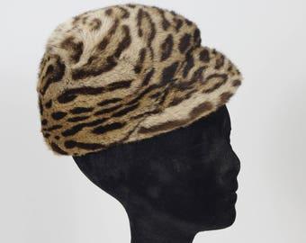 1960s Vintage Mod Leopard Print Dyed Genuine Fur Cap Hat