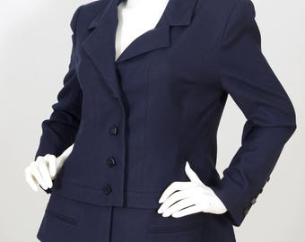 Karl Lagerfeld 1990s Vintage Women's Navy Square Button Blazer Sz M