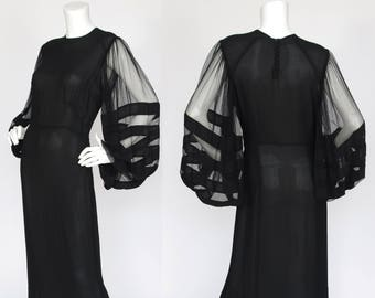 1930s Vintage Rare Huge Billowing Chiffon Sleeve Black Crepe Evening Gown Sz S