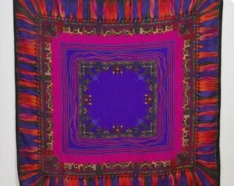 Albert Nipon 1970s Vintage Large Fine Wool Tassel & City Scape Square Scarf