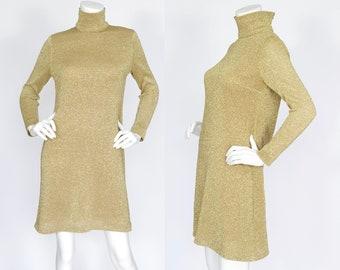 1960s Vintage Designer Mod Gold Metallic Lurex Knit Turtleneck Dress Sz S