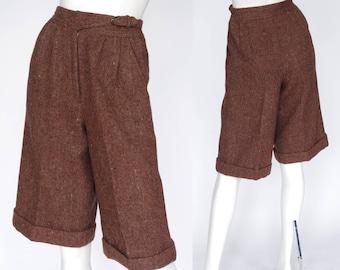 Max Mara 1970s Vintage Brown Tweed High Waisted Gaucho Pants Sz XS