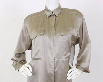 CLEARANCE Escada Vintage Women's Designer Grey Silk Button Up Collared Designer Blouse Shirt