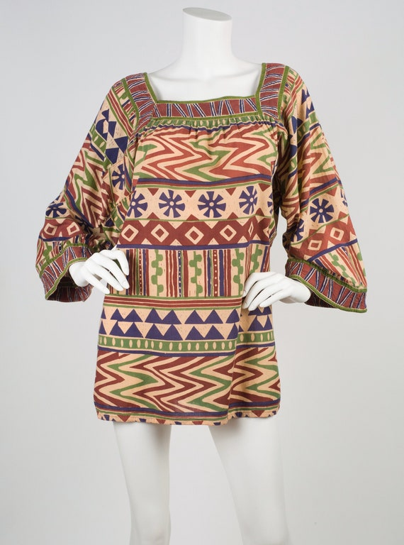 Bill Tice 1970s  Vintage Indian Cotton Wide Sleeve