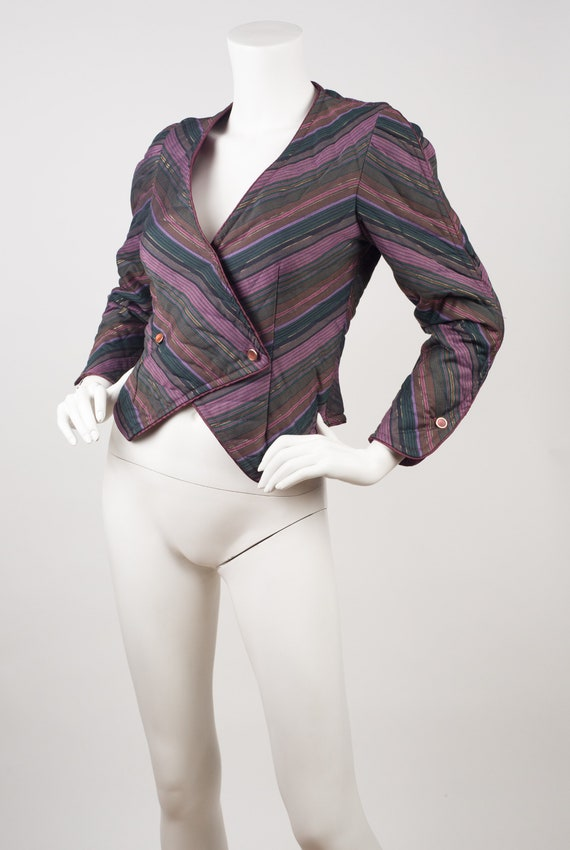 Jeanne Marc 1980s Vintage Quilted Striped Cotton J