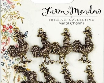 BULK 50 Chicken rooster charms silver tone B175