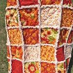 Autumn Lap Rag Quilt - Flowers and Pumpkins - Fall Colors Quilt - Rag Quilt - Autumn Quilt - Autumn Red Orange Quilt - Fall Rag Quilt